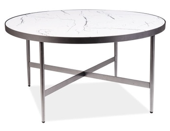 Kafijas galdiņš Signal Meble Modern Dolores B, balta/pelēka, 800x800x420 mm