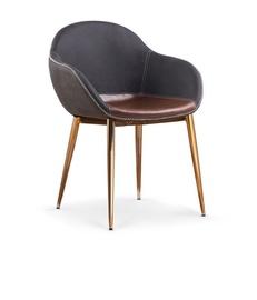 Ēdamistabas krēsls Halmar K304 Dark Grey/Brown/Gold