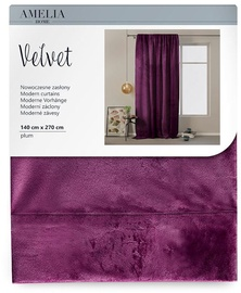 AmeliaHome Velvet Pleat Curtains Plum 140x270cm