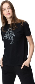 Audimas Womens Short Sleeve Tee Black Grey Printed XS