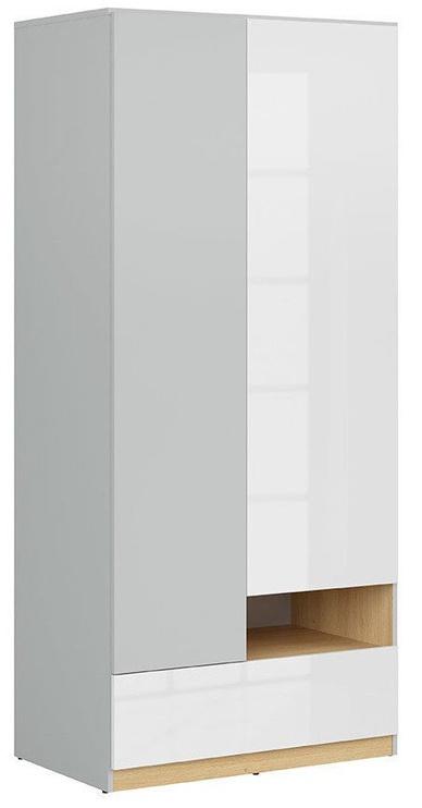 Skapis Black Red White Nandu Gray/Oak/White, 90x55x200.5 cm