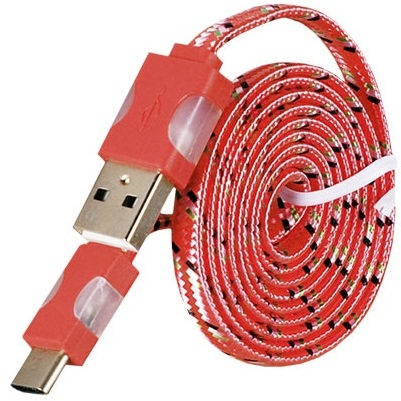 Etui Led Flashing Light USB To Type-C Cable 1m Red
