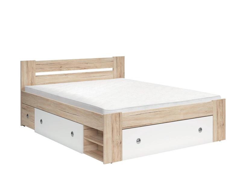Кровать Black Red White Stefan 160 White/San Remo Oak, 204x165 см