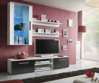 ASM Galino E Wall Unit White/Black Gloss/White Matt