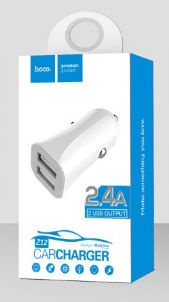 Hoco Premium Elite Dual USB Z12 Universal Car Charger White