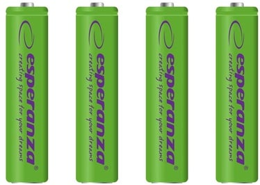 Esperanza Rechargeable Batteries 4x AAA 1000mAh Green