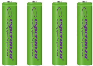 Uzlādējamais elements Esperanza Rechargaeble Batteries 4x AAA 1000mAh Green