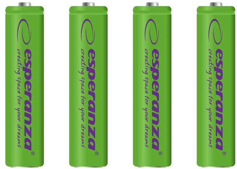 Esperanza Rechargeable Batteries 4x AAA 1000mAh Green