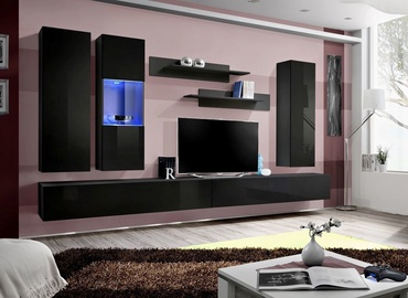 Dzīvojamās istabas mēbeļu komplekts ASM Fly E Horizontal Glass Black/Black Gloss