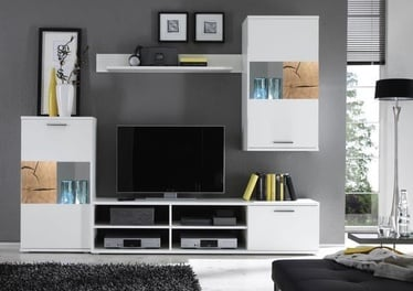 Black Red White Spalt 1 Wall Unit White/Oak Core