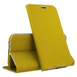 Mocco Carbon Leather Book Case For Samsung Galaxy S10 Gold