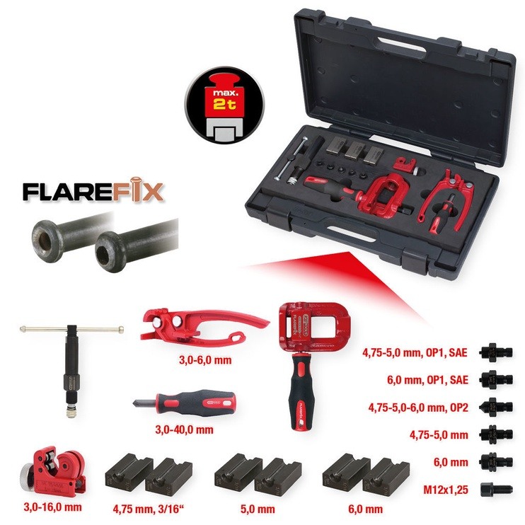 Kstools Flarefix 1 Universal Brake Pipe Flaring Tool Set 16pcs
