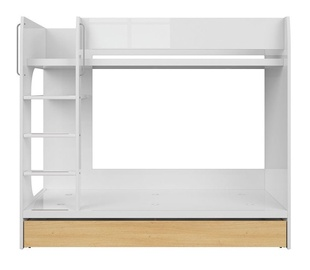Двухъярусная кровать Black Red White Princeton White Gloss/Polish Oak, 184.5x96.5 см