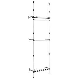 Гардероб VLX Telescopic Wardrobe System With Rods And Shelf, серебристый/черный, 110 см x 28 см x 300 см