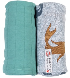 Lodger Swaddler Empire Fish Solid 120x120cm Solid/Dusty turquoise 2pcs