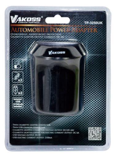 Vakoss Car Socket Splitter USB x2 Black