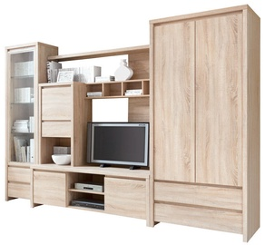 Black Red White Wall Unit Kaspian Sonoma Oak