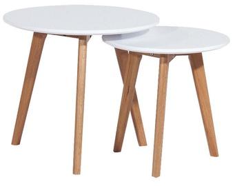 Kafijas galdiņš Signal Meble Scandinavian Milan S2 White/Oak, 500x500x450 mm