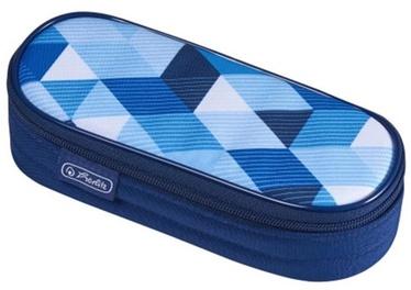 Herlitz Pencil Pouch Oval Blue Cubes