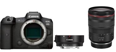 Canon EOS R5 + RF 24-105mm f/4L IS USM + Mount Adapter EF-EOS R Black
