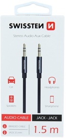 Swissten Textile Premium AUX Cable 1.5m Black
