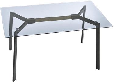 Pusdienu galds Halmar Trax Smoked, caurspīdīga/melna, 1400x800x750mm