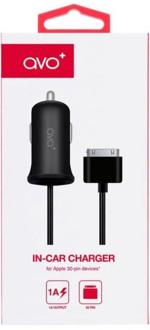 Avo+ Premium Car Charger For Apple 30pin 1.5m Black