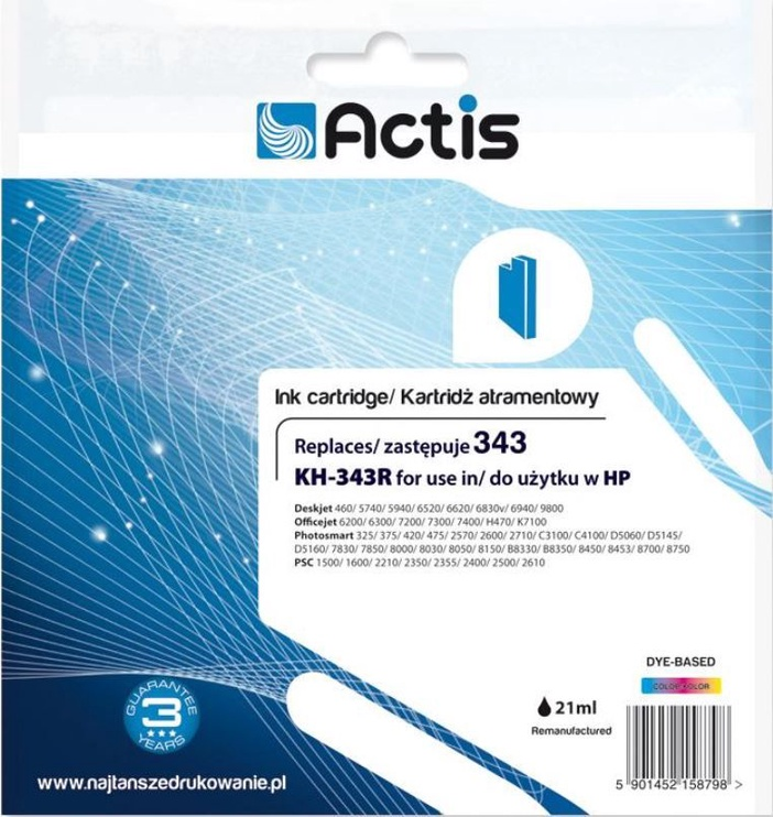 Actis Cartridge KH-343R For HP 21ml Multicolor