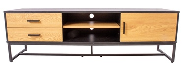 ТВ стол Home4you Amsterdam 45031, черный/дубовый, 1600x400x500 мм