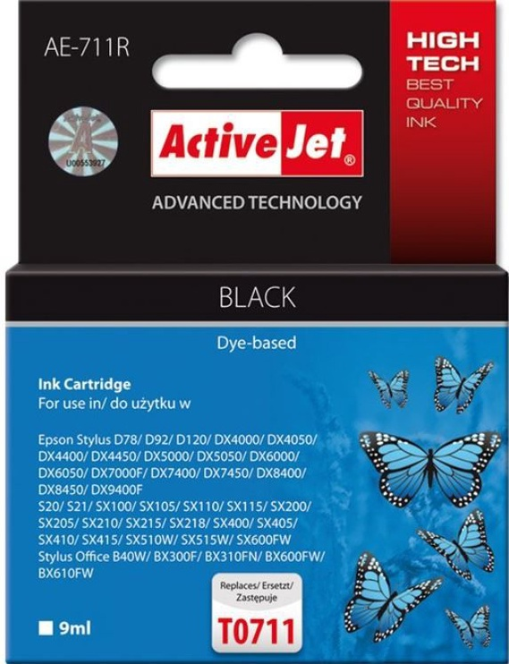 ActiveJet Cartridge AE-711R For Epson 9ml Black