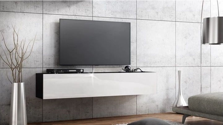 TV galds Pro Meble Milano Wall 160 Black/White, 1600x320x300 mm