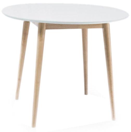 Pusdienu galds Signal Meble Larson White/Oak, 900x900x750 mm