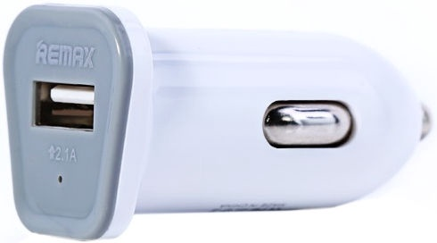 Remax Compact USB Plug Car Charger White