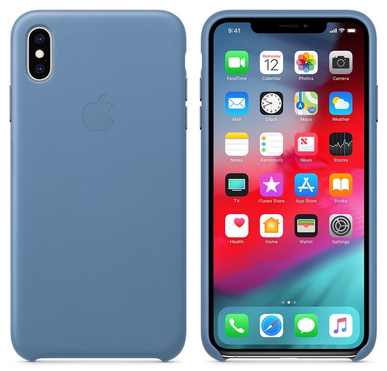 Apple Leather Back Case For Apple iPhone XS Max Cornflower