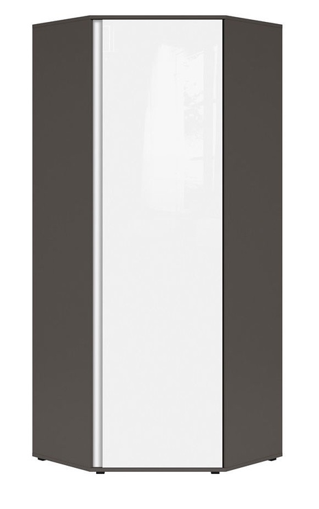 Black Red White Graphic Hallway Wardrobe 78x191x78cm Gre/White Mirror Shine