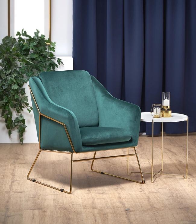Atzveltnes krēsls Halmar Soft 3 Dark Green/Gold, 69x76x81 cm