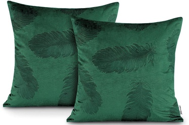 Spilvenu pārvalks AmeliaHome Velvet Peacock, zaļa, 450 mm x 450 mm