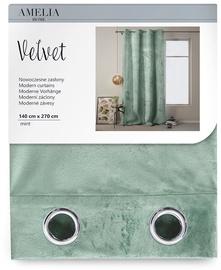 Nakts aizkari AmeliaHome Velvet, zaļa, 1400x2700 mm