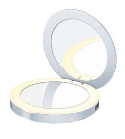 Kosmētiskais spogulis Beurer BS 39 Silver, ar gaismu, stāvošs, 7x7 cm