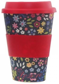 Tesoro 100% Eco Bamboo Fibre Mug With Silicone 480ml Flower Red
