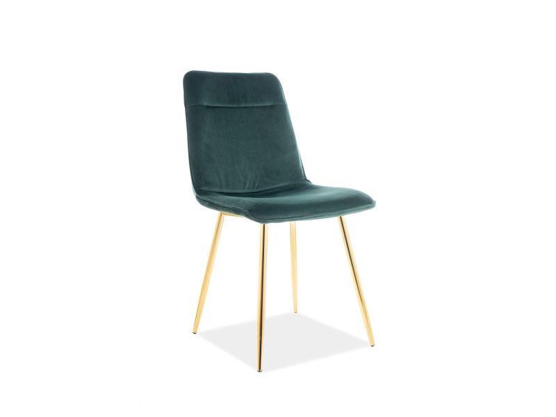 Ēdamistabas krēsls Signal Meble Eros Velvet Green/Gold