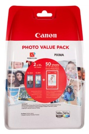 Printera kasetne Canon PG-560XL Black and CL-561XL Colour Ink Cartridge + Photo Paper Value Pack Multipack