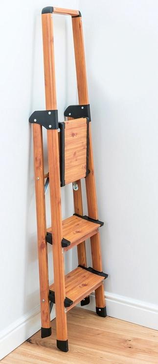 Tatkraft Aluminium 3-Step Ladder Scandinavian Wood Style