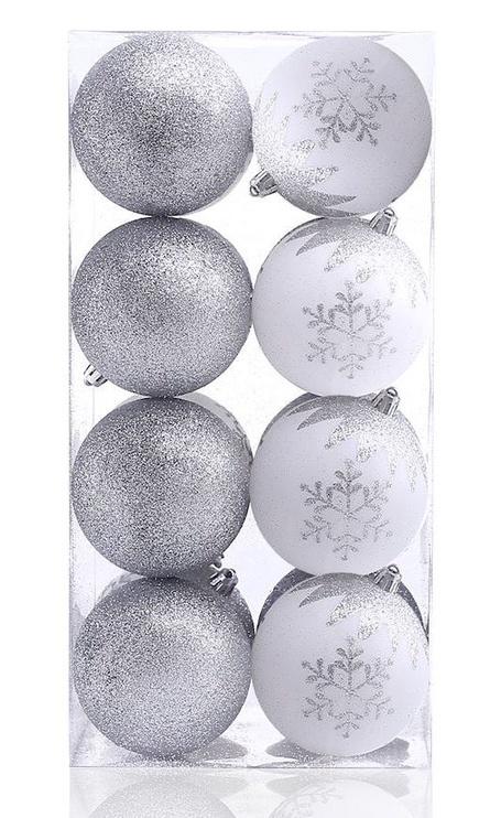 Ziemassvētku eglītes rotaļlieta DecoKing Meli White/Silver, 16 gab.