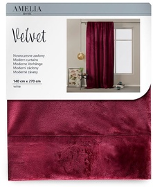 AmeliaHome Velvet Pleat Curtains Wine 140x270cm