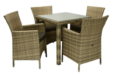 Home4you Wicker Table And 4 Chair Set Cappuccino