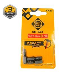 Forte Tools Screwdriver Bit Set Impact Power TX20 25mm 3pcs