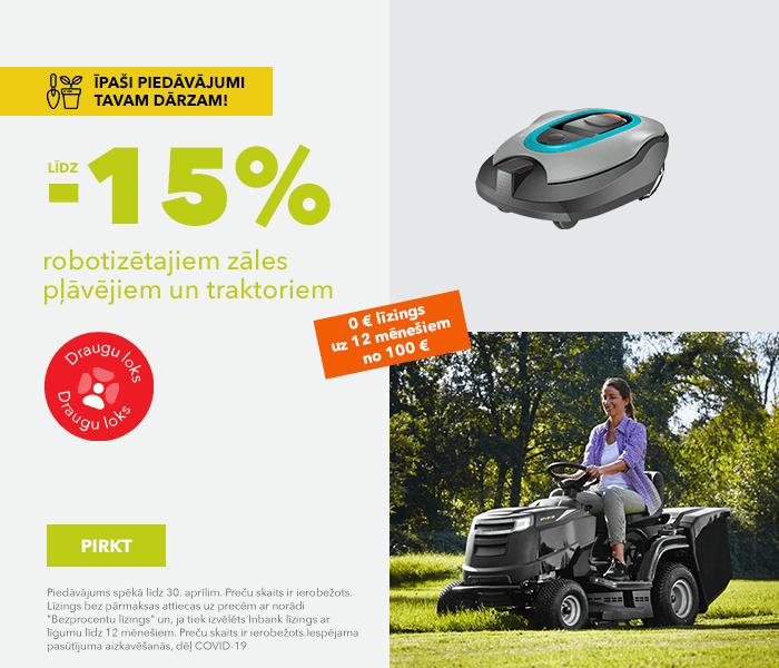 Īpaši piedāvājumi Tavam dārzam! līdz -15% robotizētajiem zāles pļāvējiem un traktoriem