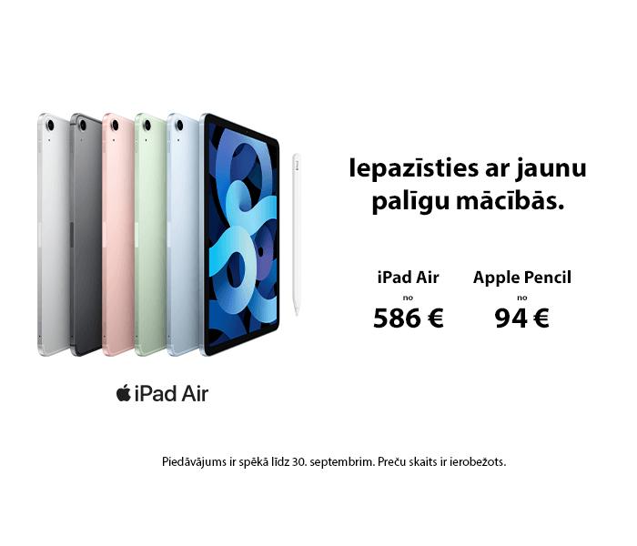 Iepazīsties ar jaunu palīgu mācībās.   iPad Air no 586 € Apple Pencil no 94 €