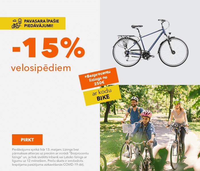 Pavasara īpašie piedāvājumi! -15% velosipēdiem ar kodu: BIKE